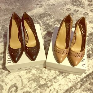Ann Taylor Pumps 7.5 Black and Nude